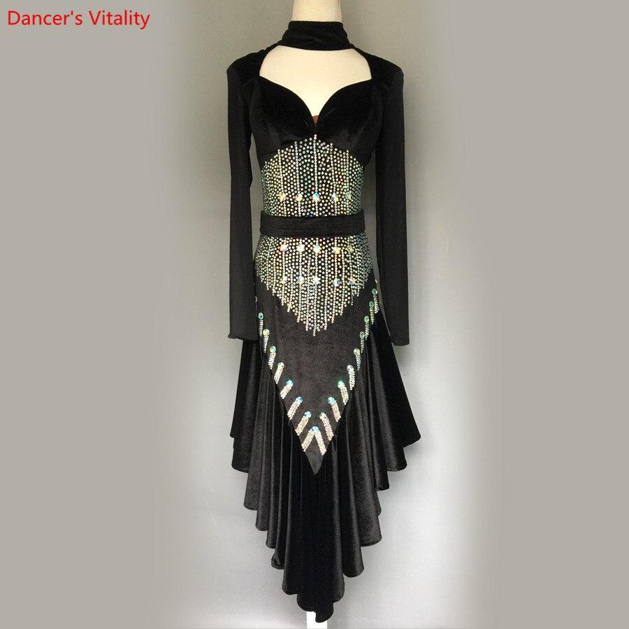 2018 NEW Custom Made Latin Dance Long Sleeve Costume Sexy Latin Dance Dress For Women Latin Dance Competition Diamond Dresses