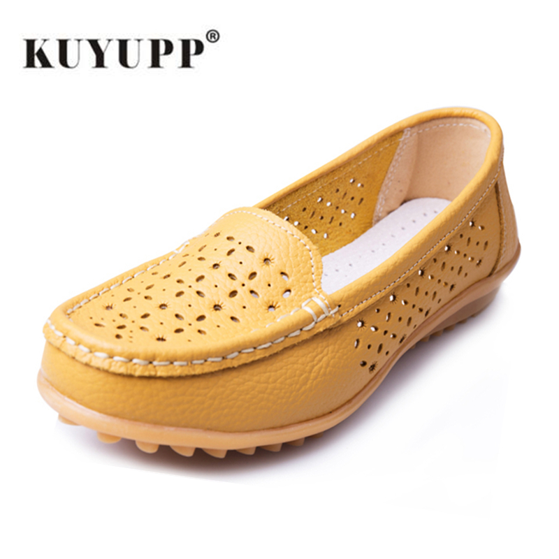 Soft Leather Woman Flat Shoes Spring Fall Comfortable Slip-on Beanie Flats Hollow-out Driving Zapatos Shoes YDT918 2017 spring genuine leather sheepskin shoes womens black white comfortable woman flat boat shoes buckle strap zapatos mujer 002k