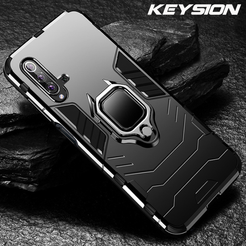 KEYSION <font><b>Shockproof</b></font> Armor <font><b>Case</b></font> For <font><b>Huawei</b></font> Honor 20 Pro 10i 20i Lite P30 P20 8X 9X Stand Car Ring Phone Cover for Y5 Y6 <font><b>Y7</b></font> Y9 <font><b>2019</b></font> image