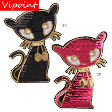embroidery sequins fox patches for jackets,fox badges for jeans,appliques for coats A219 цена и фото