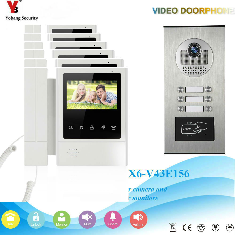 YobangSecurity Video Intercom 4.3 Inch Video Door Phone Doorbell Camera Monitor System RFID Access Control For 6 Unit ApartmentYobangSecurity Video Intercom 4.3 Inch Video Door Phone Doorbell Camera Monitor System RFID Access Control For 6 Unit Apartment