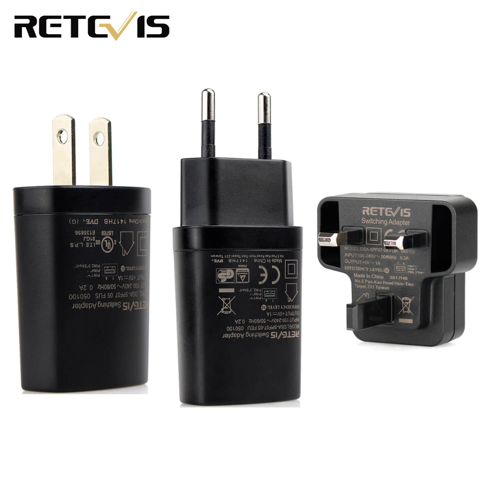 Retevis 5V 1A USB Adapter Charger Universal Charger Single Port For Retevis H777 RT22 RT7 Two Way Radio Mobile Phone C9034A