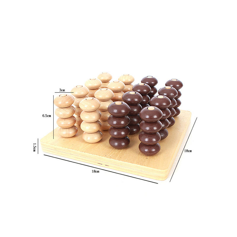 Wooden toys montessori preschool education benefit wisdom stereo connect four teaching toys gifts for children XWJ347-