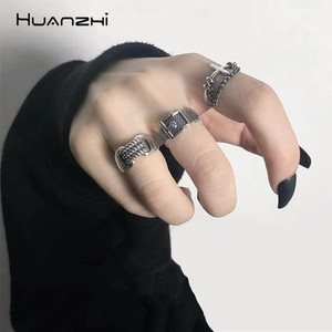 HUANZHI Vintage Silver Color Metal Punk Chain Cross Open Rings Belt Buckle Design Finger Rings for Women men Party Jewelry Gifts(China)