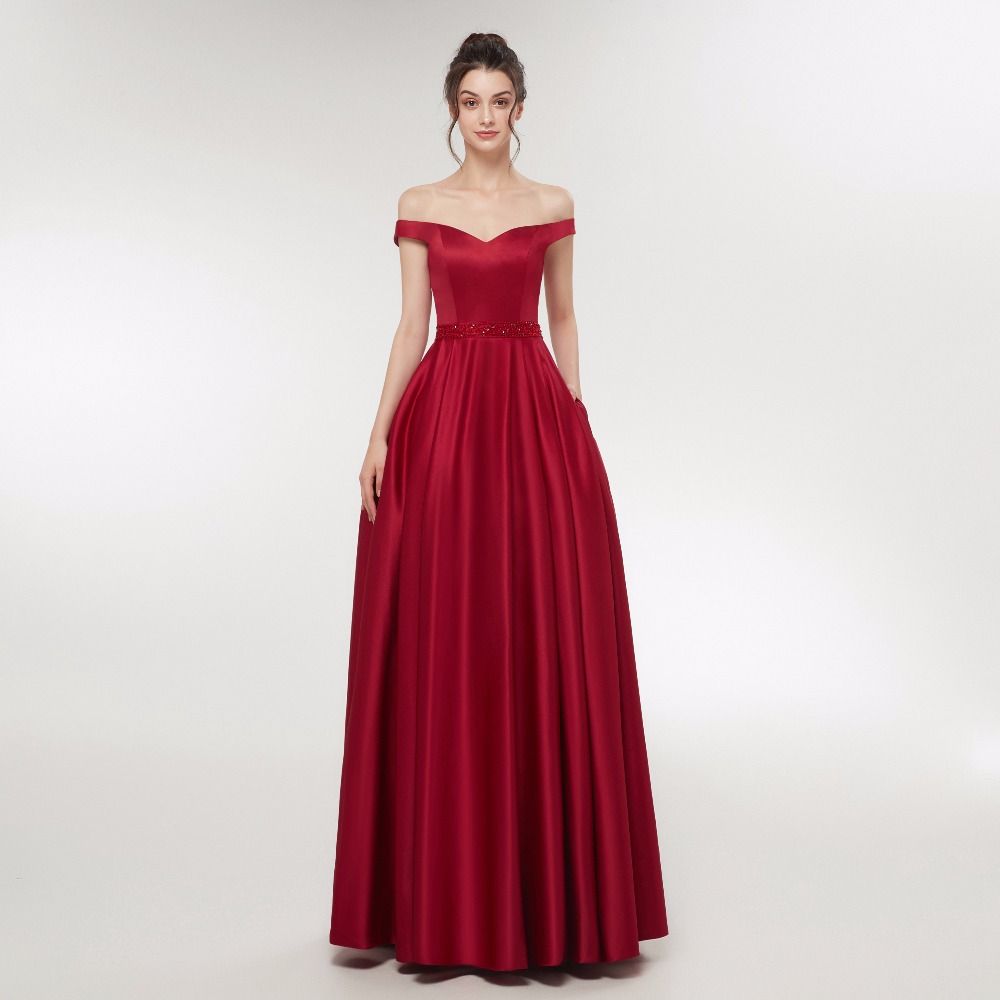 Pink Burgundy Robe Marriage Satin Boat Neck A Line Long Prom Dresses 2018 Cap Sleeve Backless Beading Floor Length Evening
