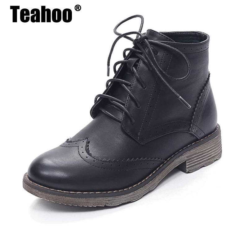 Cheville Oxford De Bottes Lacets Black À Fur Boots Wingtip Chaud Rue Richelieu Femmes Super Teahoo Chaussures Boots D'hiver 2017 Style Pour brown Fourrure Boots khaki RA54jL