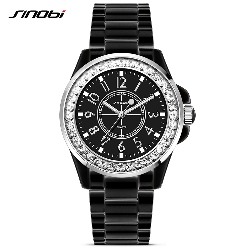 SINOBI Fashion Ladies Ceramic Steel Watch with Crytal for Womens Quartz Wrist Watches Luxury J12 Black Clock Relojes Mujer 2017 mlt d111s reset chip for samsung m2020 m2020w m2022 m2022w m2070 refill printer toner cartridge chip resetter exp version