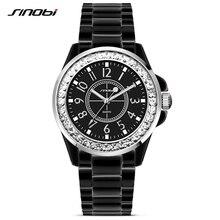 SINOBI De Mode Dames En Céramique Montre En Acier avec Crytal pour les Femmes Bracelet À Quartz Montres De Luxe J12 Noir Horloge Relojes Mujer 2017