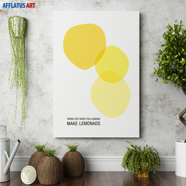 Abstract Art Lemon Wall Art Canvas Painting For Living Room Nordic ...