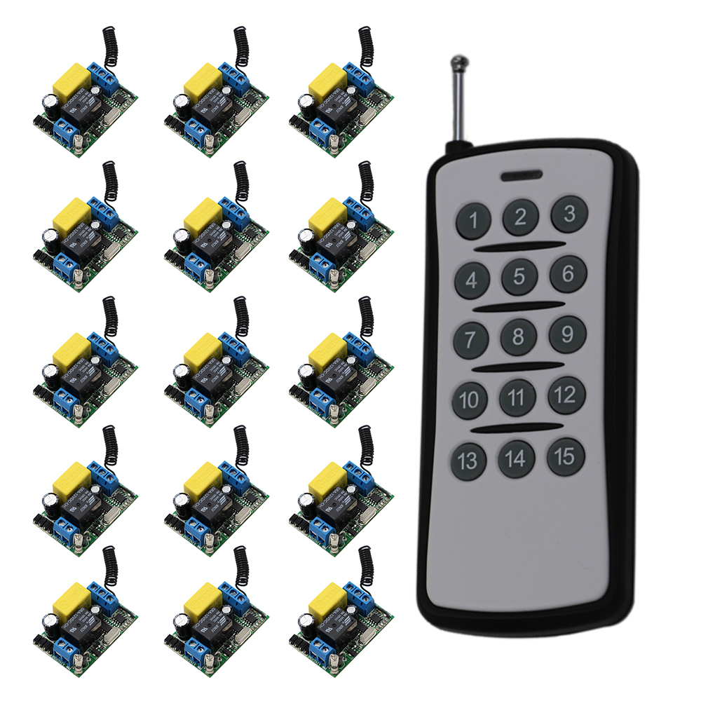 Wireless Remote Control Switch System Remote Switch ON/OFF AC 220V 1CH Relay Module Receiver & 15CH Transmittter 315/433Mhz ac 220 v 1 ch wireless remote control switch system 4x transmitter with 2 buttons 1 x receiver light lamp ledon off 315 433mhz