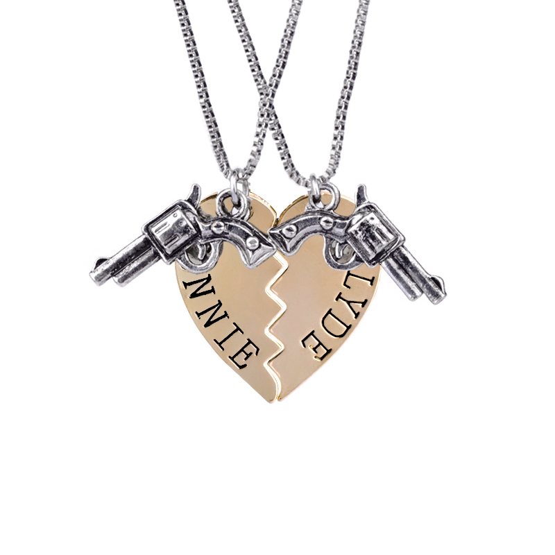 Best Friends Necklace Broken Heart BONNIE CLYDE Letter Necklace Gun Puzzle Stitching Necklace 2 Parts Pendant for Best Friends image
