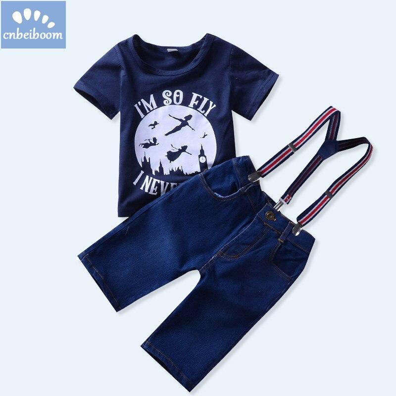 Лето 2018 Новый Комплекты одежды для детей до года футболка + штаны джинсы Одежда для маленьких мальчиков Комплекты Повседневное костюмы на Х...