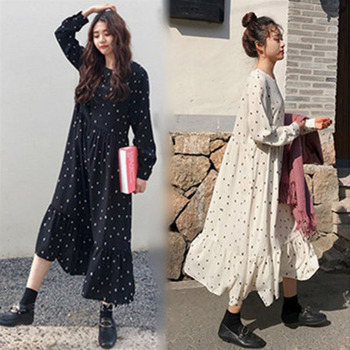 Plus Size 2019 Spring Summer European Style Brand Cothing Loose Long Sleeve Women Dresses Print Dot Linen Vestidos O-Neck Robe 1