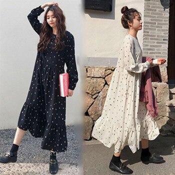 54d2bb68b0e05ef Плюс размер 2019 Весна Лето Европейский Стиль брендовая одежда свободная с  длинным рукавом женские платья с принтом в горошек льняное платье .