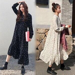 Plus Size 2019 Spring Summer European Style Brand Cothing Loose Long Sleeve Women Dresses Print Dot Linen Vestidos O-Neck Robe(China)