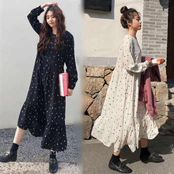 Plus Size 2019 Spring Summer European Style Brand Cothing Loose Long Sleeve Women Dresses Print Dot Linen Vestidos O-Neck Robe - DISCOUNT ITEM  35% OFF All Category