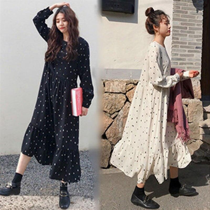 Plus size 2019 primavera verão estilo europeu marca cothing solto manga longa vestidos femininos impressão dot linho vestidos o-pescoço robe
