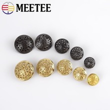 MEETEE New 10pcs 15-25mm Scrapbooking Accessories High Quality Button Skeleton Metal Coat Buttons Britishsuit Jacket Clasp D4-2+