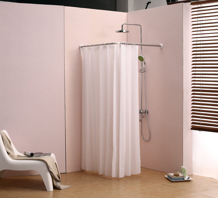 L Bathroom Curtain Cloth Hanging Rod Corner Shower Right Angle Adjule Length Ed Waterproof In Poles From Home Garden On