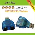 10 pçs/lote Mini USB para PS2 PS/2 Adaptador Conversor Divisor Para PC teclado e Mouse, Atacado Frete Grátis Dropshipping