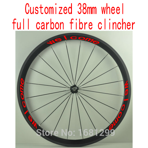 1pcs 700C customized 38mm clincher rims road Track Fixed Gear bike aero 3K UD 12K full carbon fibre bicycle wheelsets Free ship carbon wheels 700c 88mm depth 25mm bicycle bike rims 3k ud glossy matte road bicycles rims customize carbon rims