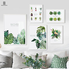 Beautiful Green Cactus Potting Prints On Canvas Paintings And Leaves Flowers Art Wall  Pictures For Living Room Decors