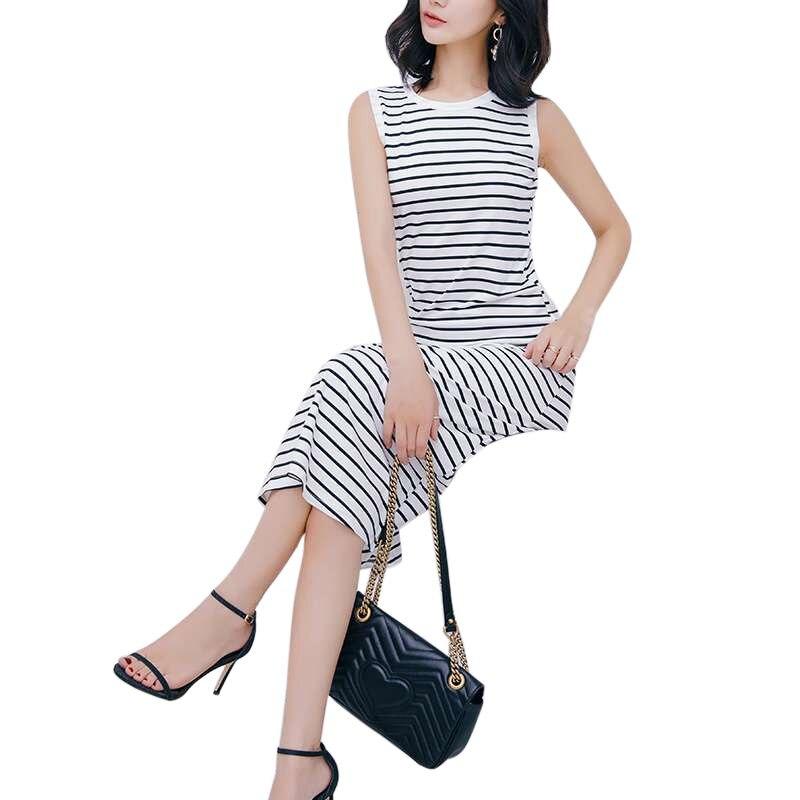 Летнее платье Для женщин платье в черно-белую полоску Повседневное тонкий халат без рукавов уличная Для женщин длинное платье