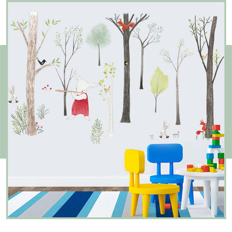 87-140cm-Large-Nordic-Style-Animal-Kids-Wall-Stickers-Cartoon-Tree-Forest-Children-Baby-Room-Wall (2)