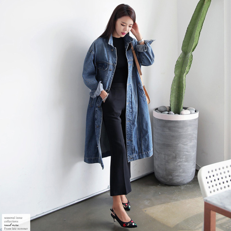 Spring Long Coat Women Lapel Denim Loose Coat Fashion Autumn   Trench   Coat Female Outwear Plus Size