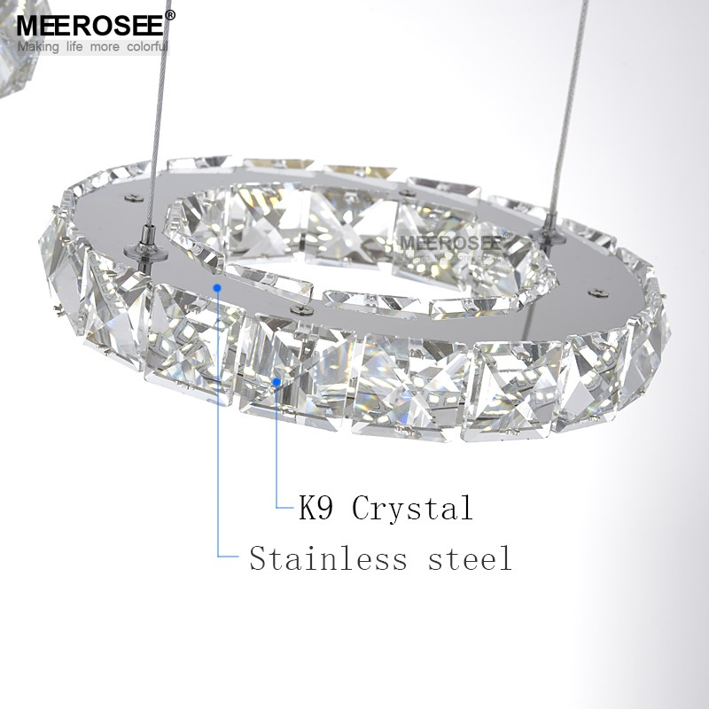 Ceiling Lights & Fans Good Quality Chrome Crystal Chandelier Led Diamond Ring Lamp Circle Stainless Steel Hanging Light Fixtures Lighting Led Lustres Selected Material Chandeliers