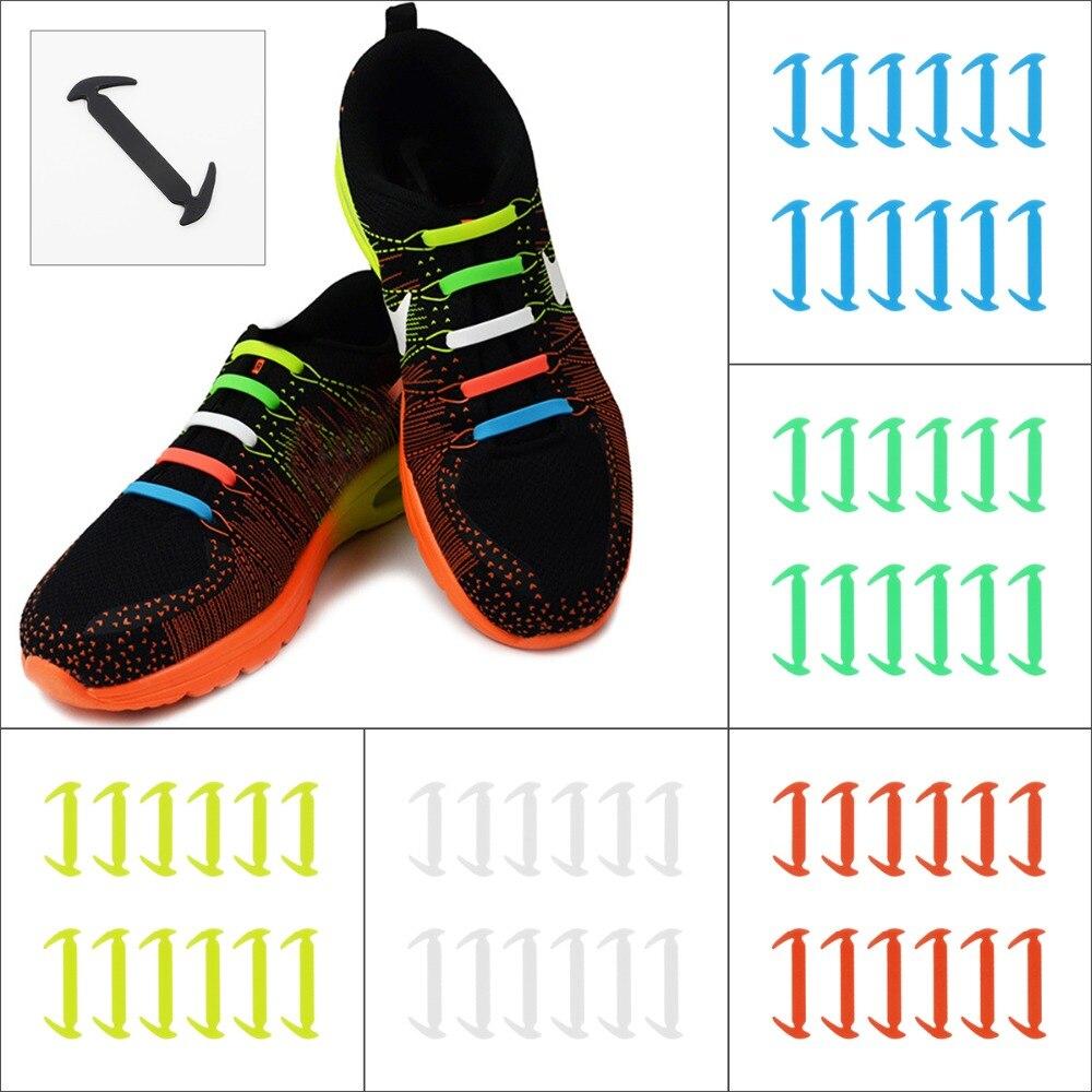 12 шт. 8 цветов спортивная Бег без галстука обуви кружевной резинкой на силиконе ленивый шнурки костюм Набор для кроссовок Fit ремень Shoeslaces