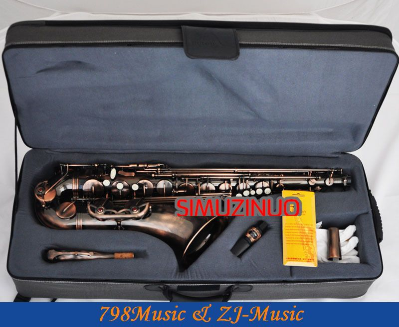 Professional Red Antique Tenor Saxophone BB Sax High F# New Case tenor saxophone free shipping selmer instrument saxophone wire drawing bronze copper 54 professional b mouthpiece sax saxophone