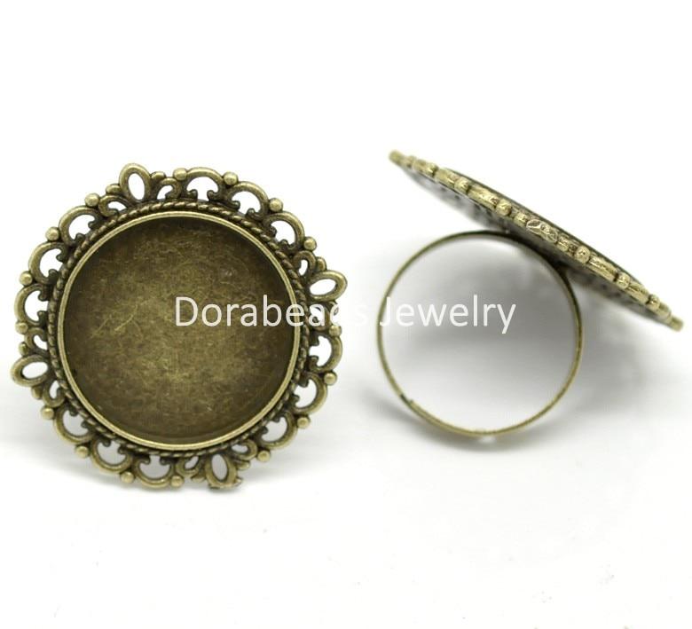 DoreenBeads 10PCs Antique Bronze Adjustable Round Cabochon Ring Settings 18.3mm US 8(Fit 21mm) (B19730) yiwu