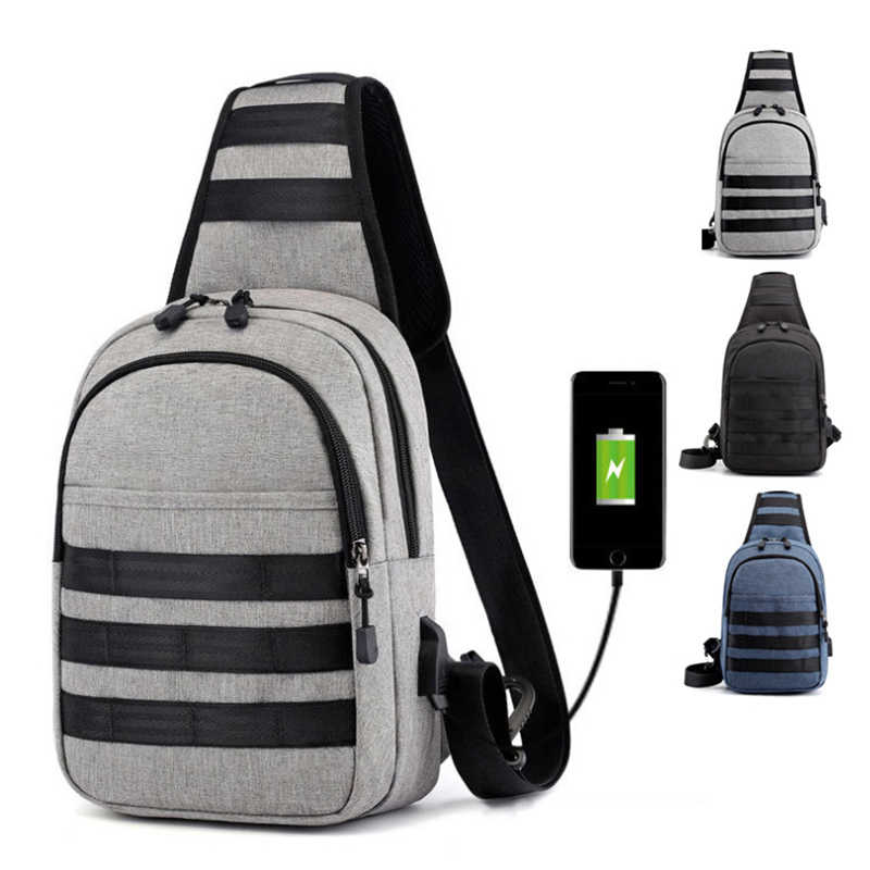 Chest Bag Men Shoulder Bags USB Charging Striped Stitching Strip Crossbody Bags School Summer Short Trip Travel Messengers Bag
