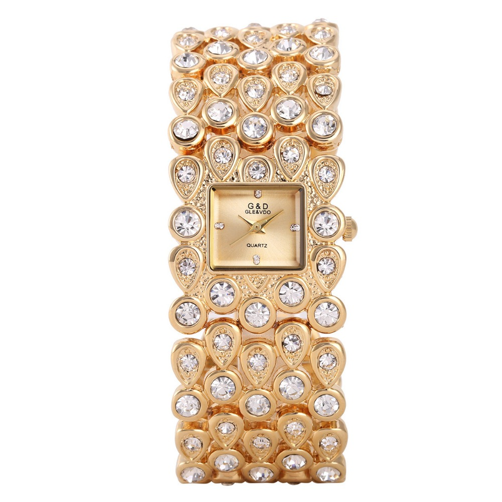 G&D Luxury Brand Gold Women's Watches Bracelet Watches Ladies Quartz Wristwatch Crystal Band relogio feminino Rectangel relojes baosaili brand luxury crystal gold watches women ladies quartz wristwatches bracelet relogio feminino relojes mujer bs001
