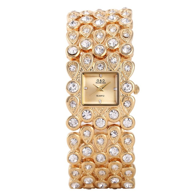 G&D Luxury Brand Gold Women's Watches Bracelet Watches Ladies Quartz Wristwatch
