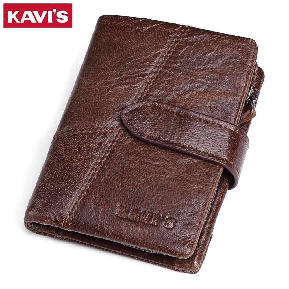 KAVIS Brand Genuine Leather Men Wallets Luxury Credit Cards Coin Purse Male Small Walet Portomonee Rfid Mini PORTFOLIO Perse