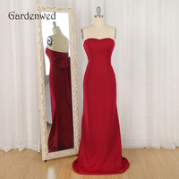 Gardenwed Red Strapless Formal Dress Long Elegant 2019 Simple Style Bow Sheath Evening Dresses robe soiree