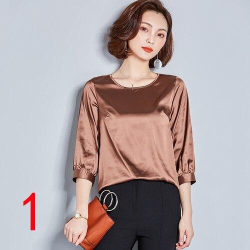Haute qualité J44022 nouvelle mode 2018 femmes O cou ample tout Match trois quarts manches basique chemise rouge noir t-shirt