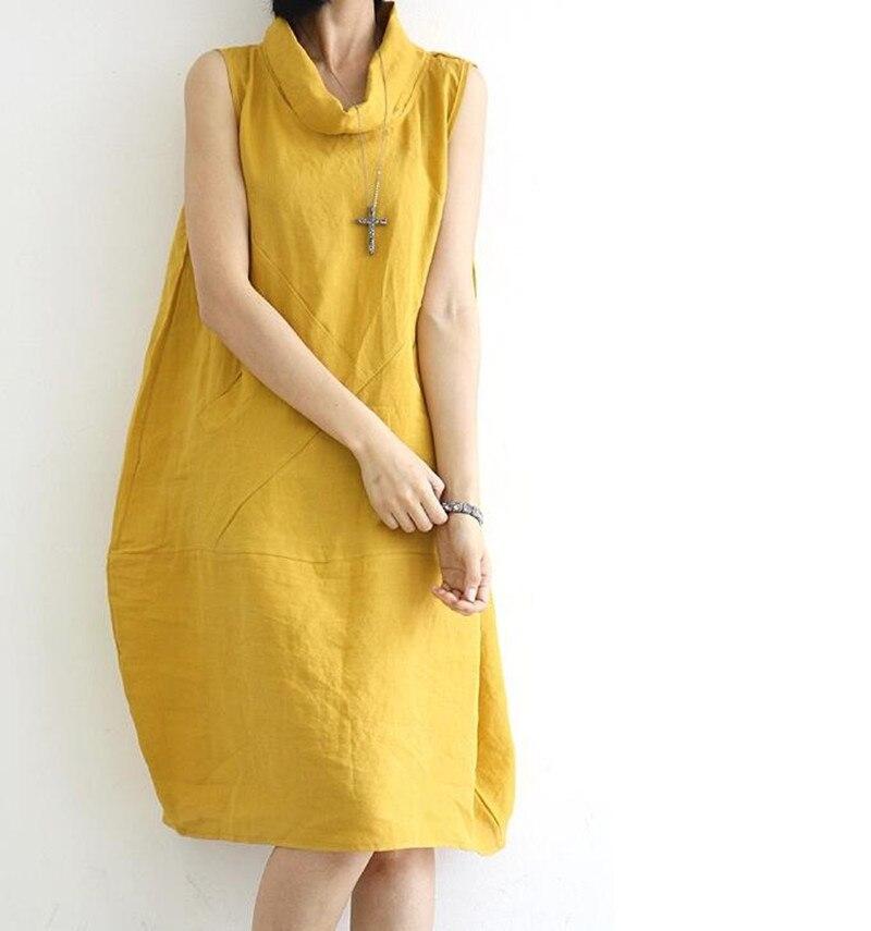 Yellow Cotton Linen Sleeveless Loose Dress Woman 2019