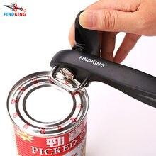 Findking 2021 melhores latas abridor de ferramentas cozinha profissional handheld manual de aço inoxidável abridor de lata corte lateral abridor de frasco manual
