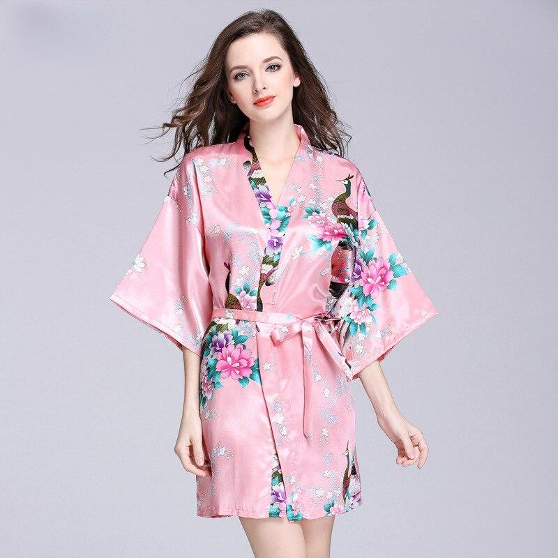12 Colors Elegant Peacock And Flower Print Self Belted Robe V Neck Half Sleeve Women Spring Dressing Gown Night Sleepwear