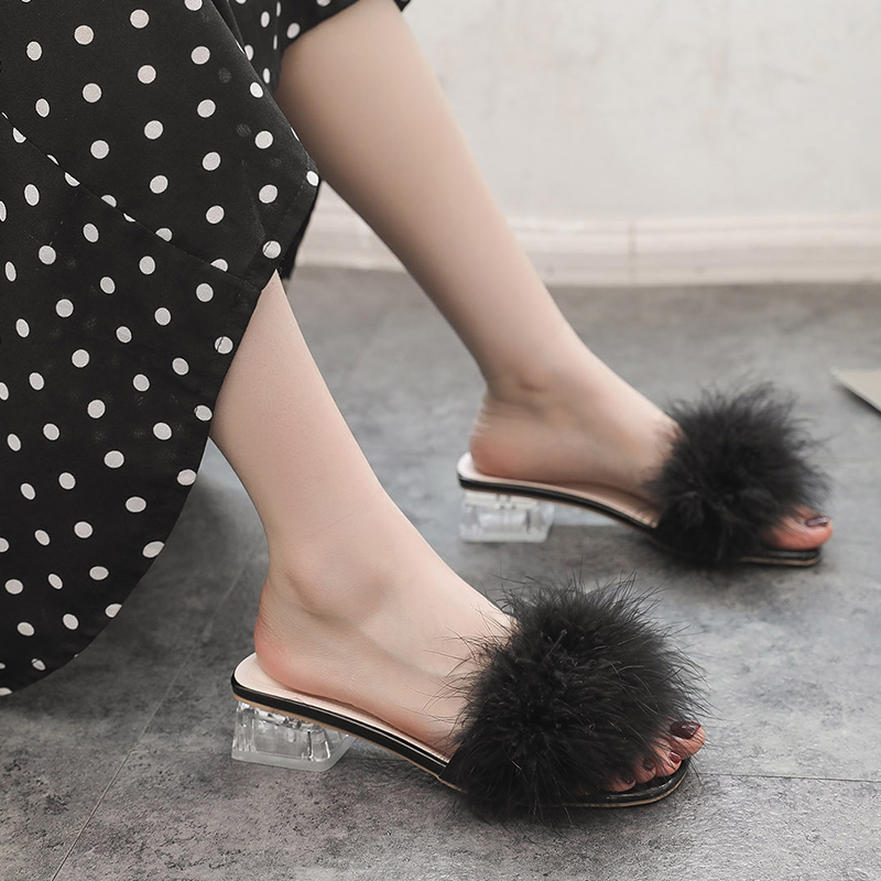 Women's Shoes Sandals Flats Chunky Heels Crystals Summer Elegant Mujer Fur Leisure Real-Fur