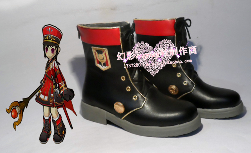 Elsword Satonaka Black Army Halloween Cosplay Shoes Boots H016