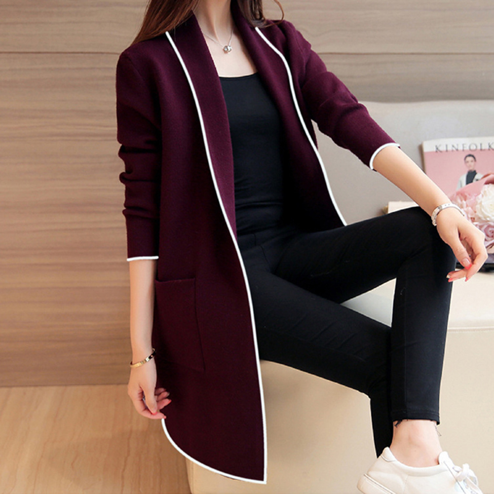 2019 Fashion Casual Women's Long Sleeve Cardigan Coat Jacket Slim Loose Plus Size M-3XL OL Pockets Coat Turn-down Collar Jackets