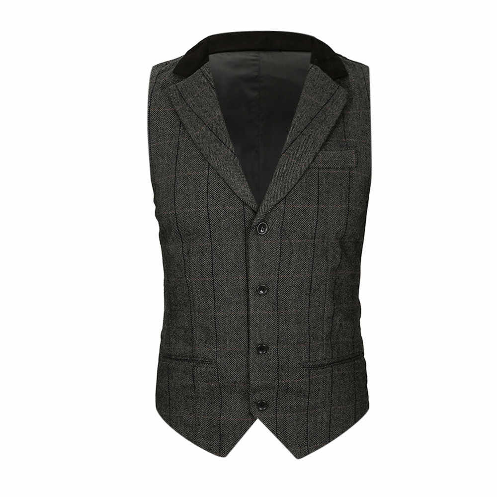2019 New Arrival Winter Vests For Men Slim Fit Mens Suit Vest Male Waistcoat Homme Casual Sleeveless Formal Business Jacket