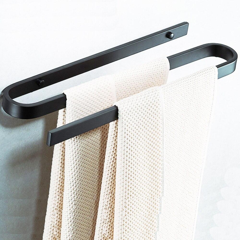 Porte-serviettes Double pôle salle de bain tenture murale espace aluminium porte-serviettes salle de bain noir serviette étagère S Curve wx7201802