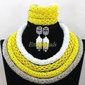 Grande partido africano granos cristalinos de la boda nupcial collar pulsera pendientes Set 4 capas de cristal de nigeria envío gratis ALJ008