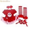 Regalos de la navidad, bebé recién nacido trajes, los cabritos del mameluco tutu Dress Girls + venda + calcetines de colores + los zapatos pequeños sistemas de la ropa