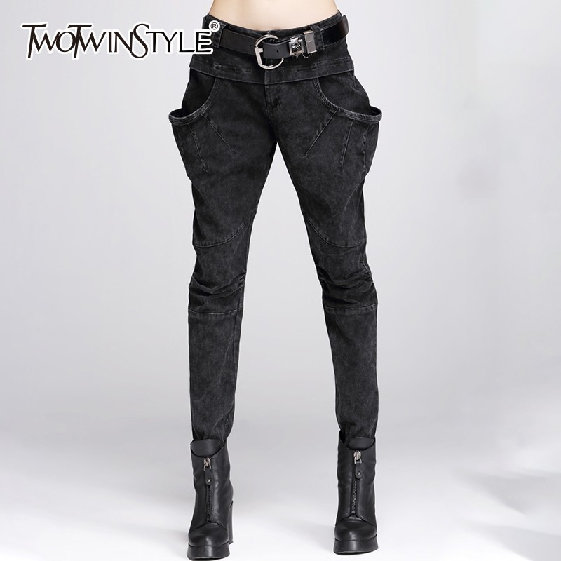 TWOTWINSTYLE Casual Big Pockets Women's Trousers Zipper High Waist Elastic Harem Pants Female Spring Autumn 2020 Plus Sizes